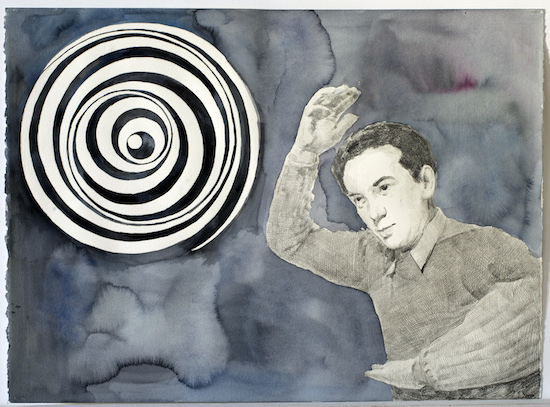Nestor Kovachev  Anemic Cinema, 2014 aquarell, nero pencil on paper 56 x 76 cm Courtesy Gallery Heike Curtze and Petra Seiser